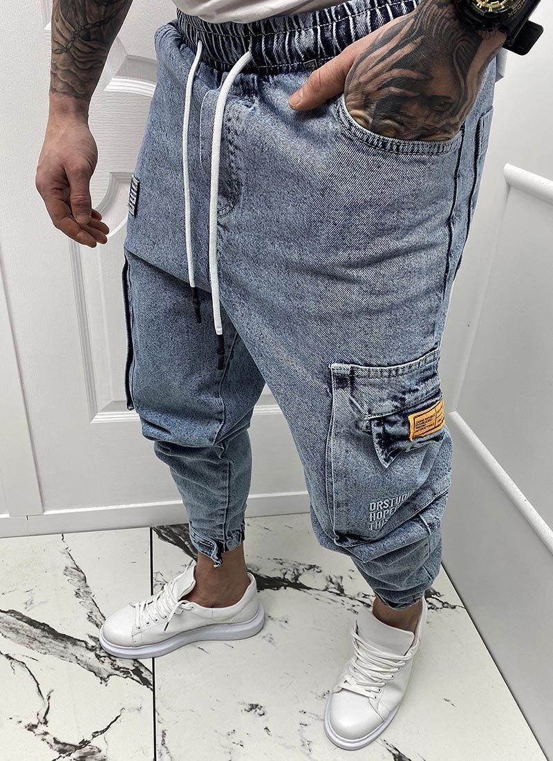 Мъжки дънки сини с джобове А5879