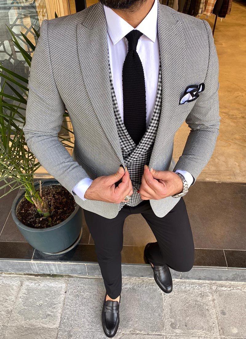 Мъжки костюм сив и черен цвят 2132-01