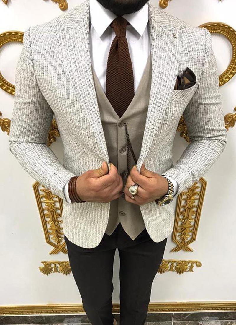 Мъжки костюм черно бяло и бежово 3931-2