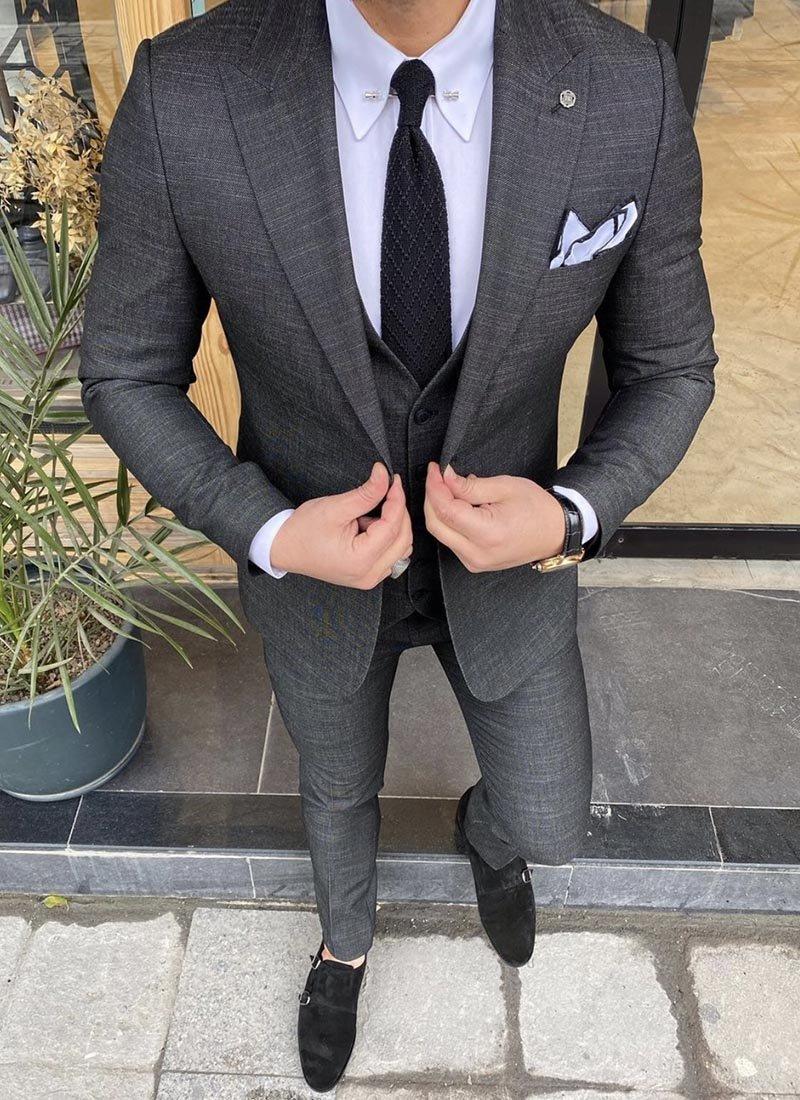 Мъжки костюм графитен черен цвят