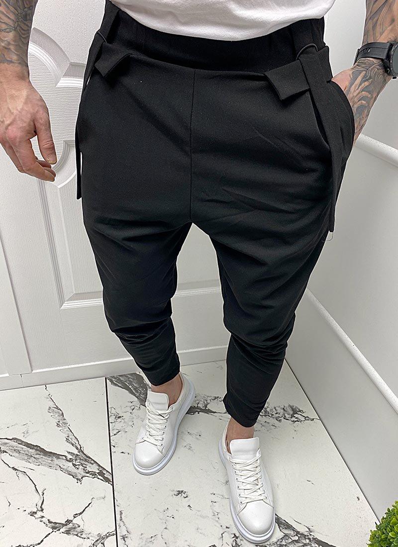 Мъжки спортен панталон черен цвят П2002
