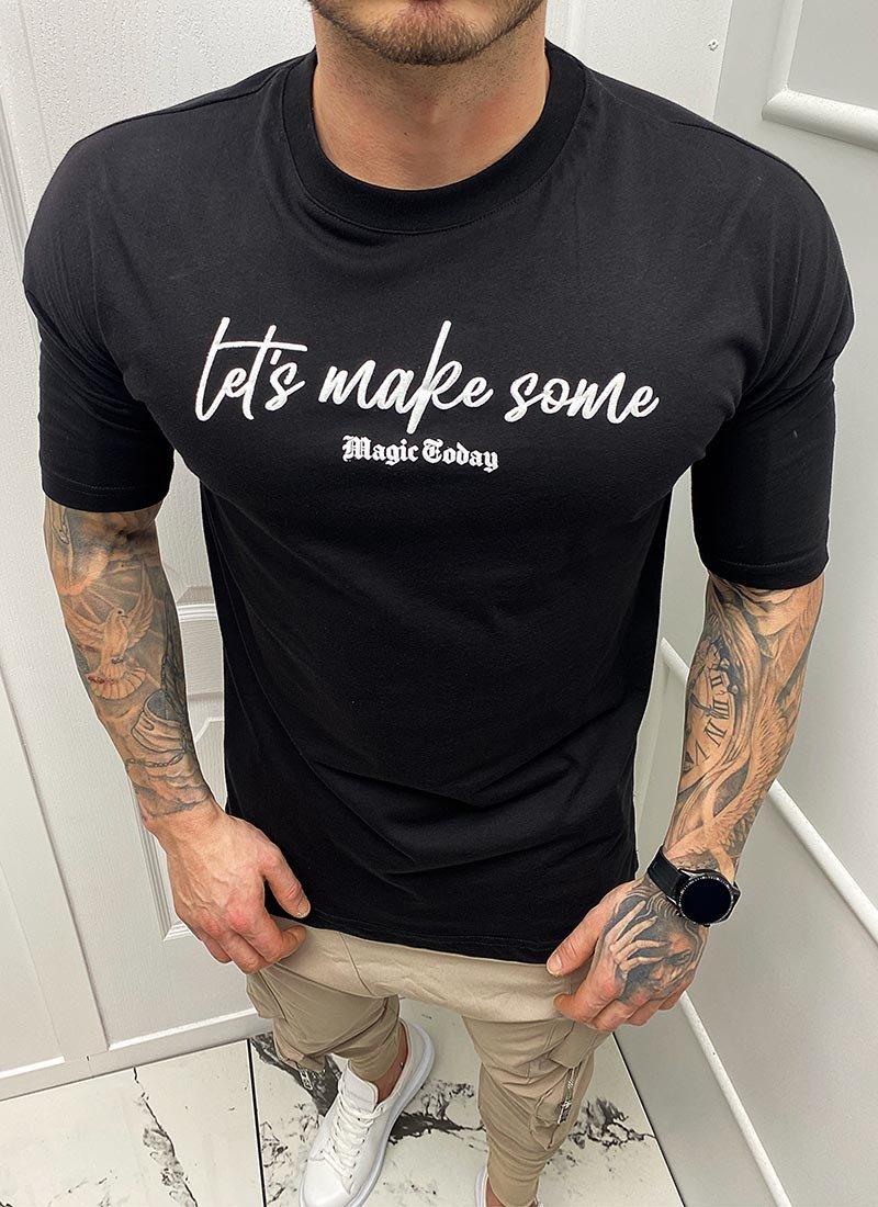 Мъжка черна тениска щампа на гърба Т218-2
