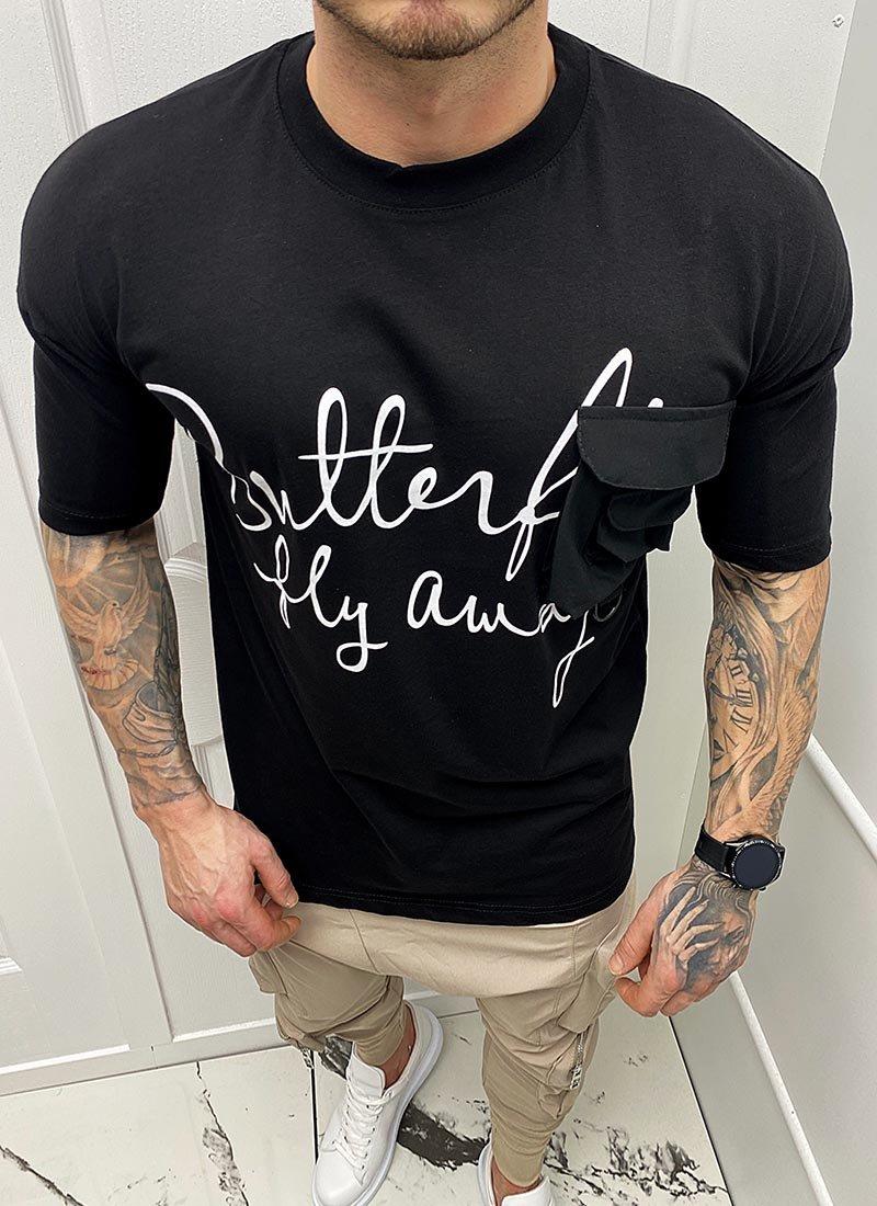 Мъжка черна тениска надпис отпред Т245-2