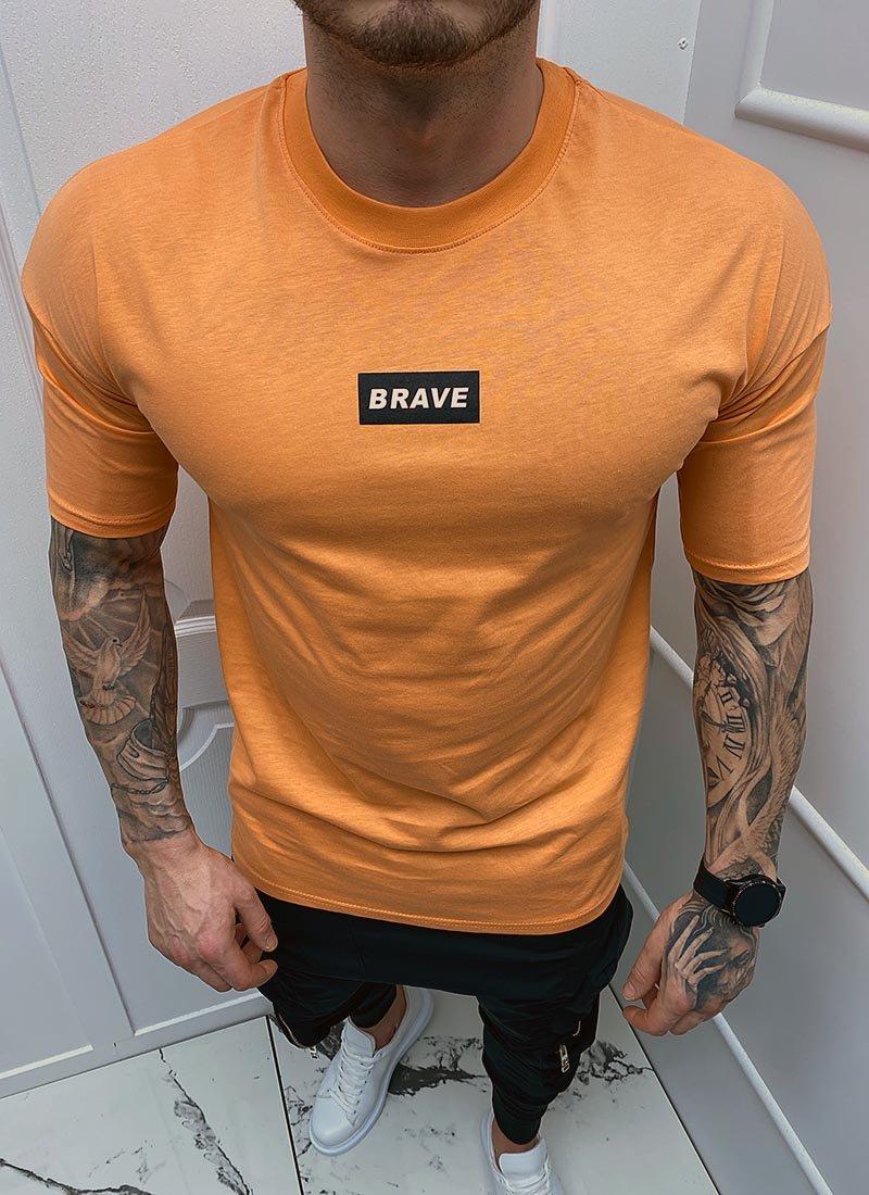 Мъжка тениска оранжева с надпис Т296-1