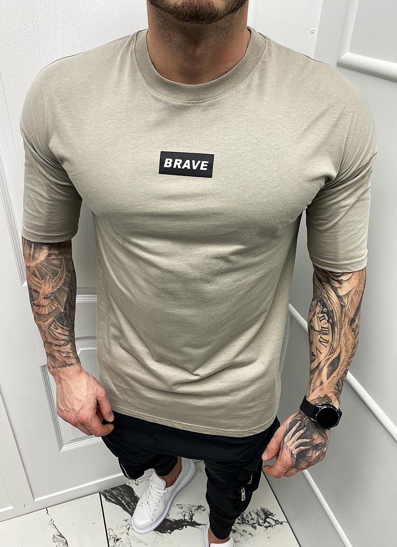 Мъжка тениска сива с надпис Т296-4