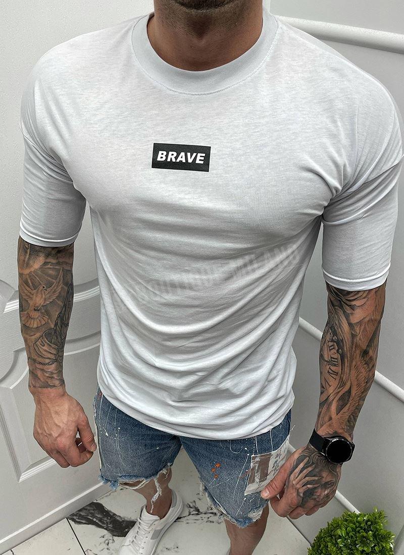 Мъжка тениска бяла с надпис