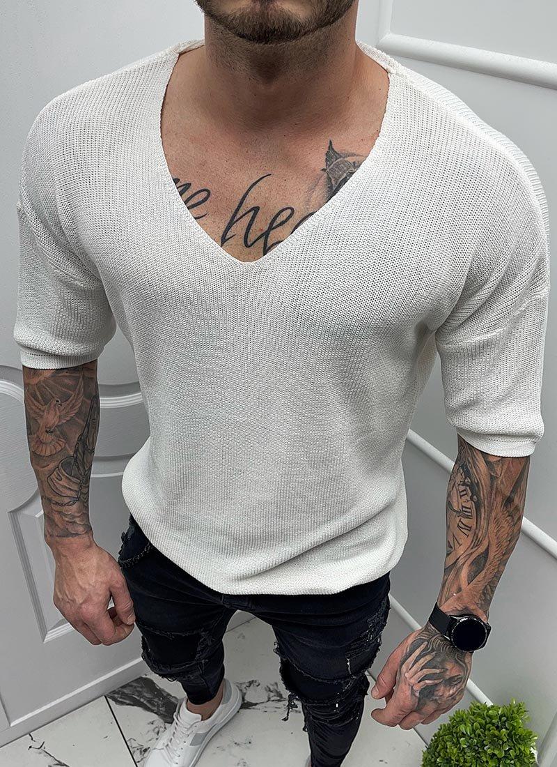 Мъжка блуза къс ръкав плетена бяла