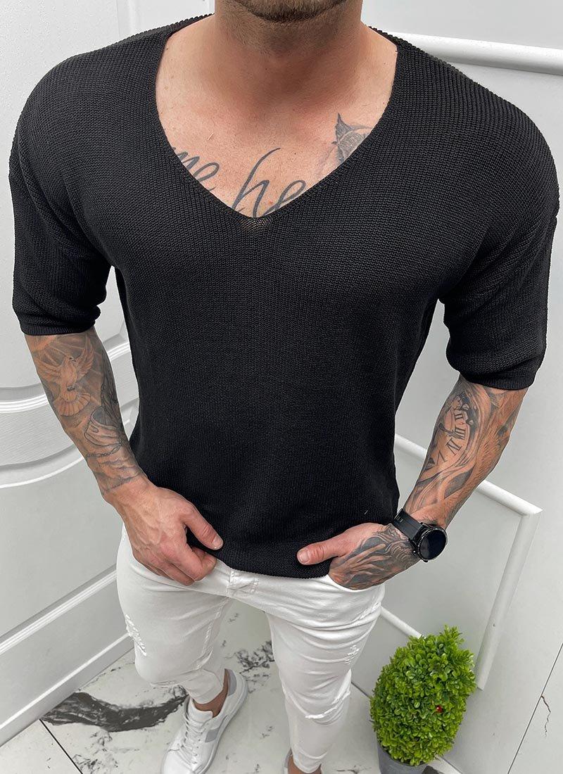 Мъжка блуза къс ръкав плетена черна