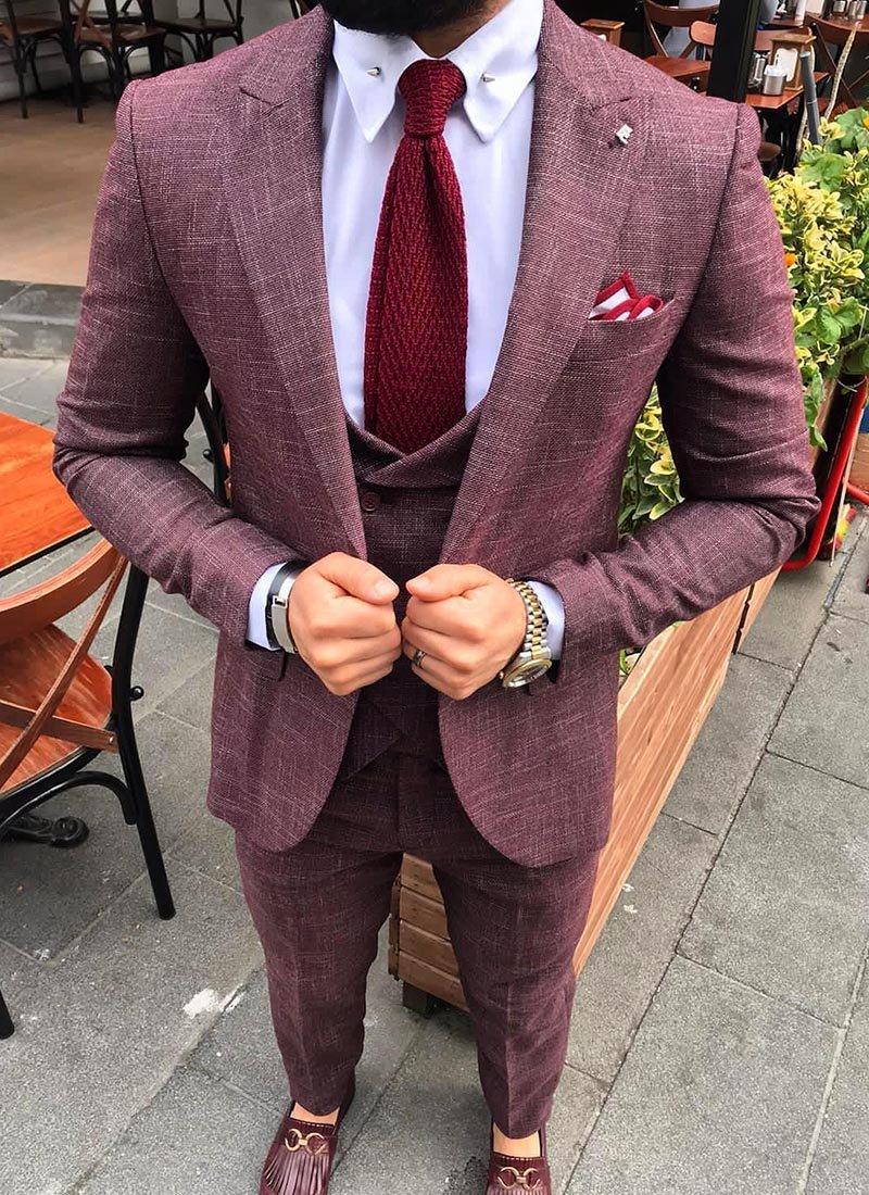 Мъжки втален костюм цвят бордо 4081