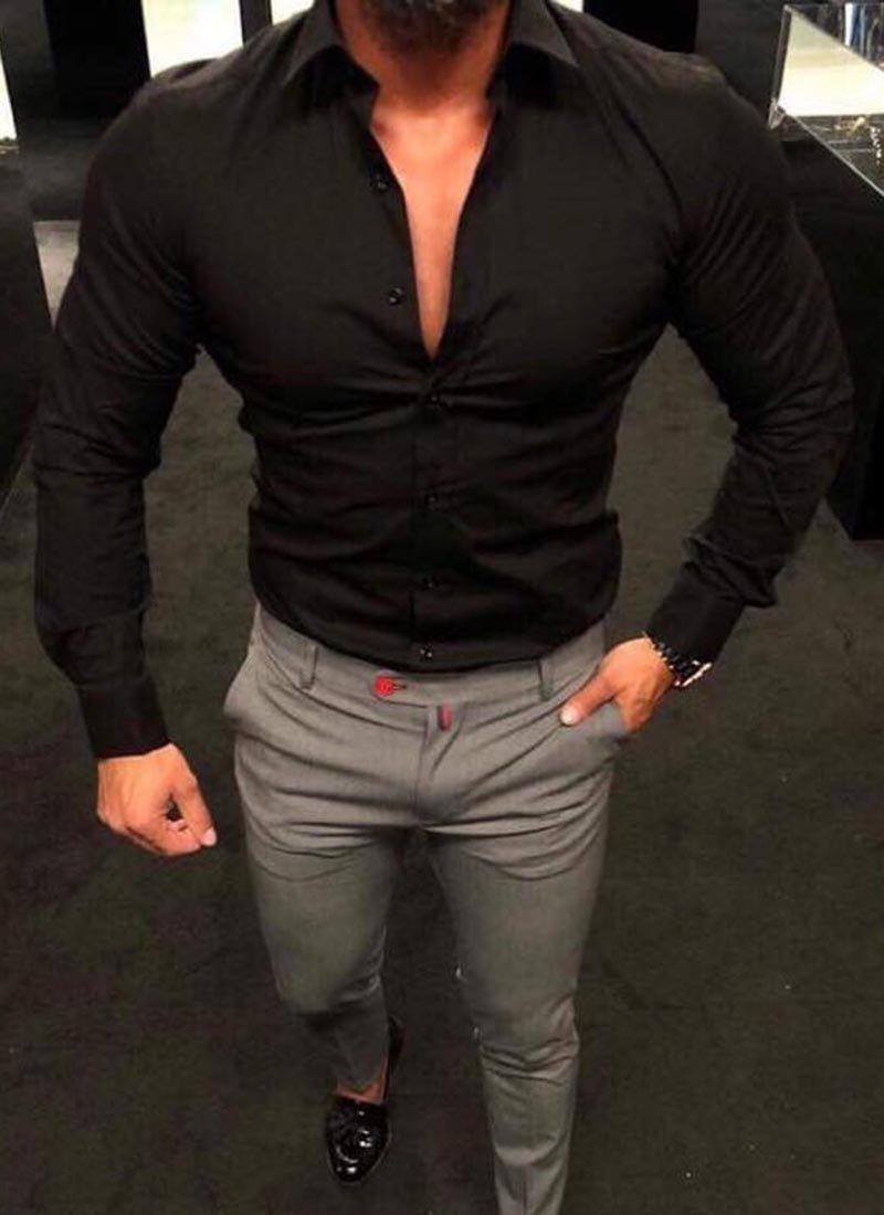 Мъжка елегантна черна риза