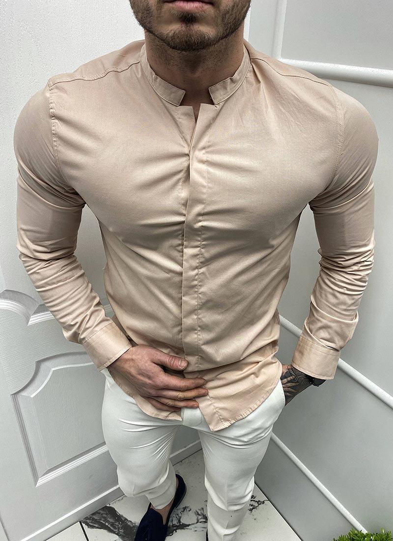 Мъжка спортно елегантна бежова риза