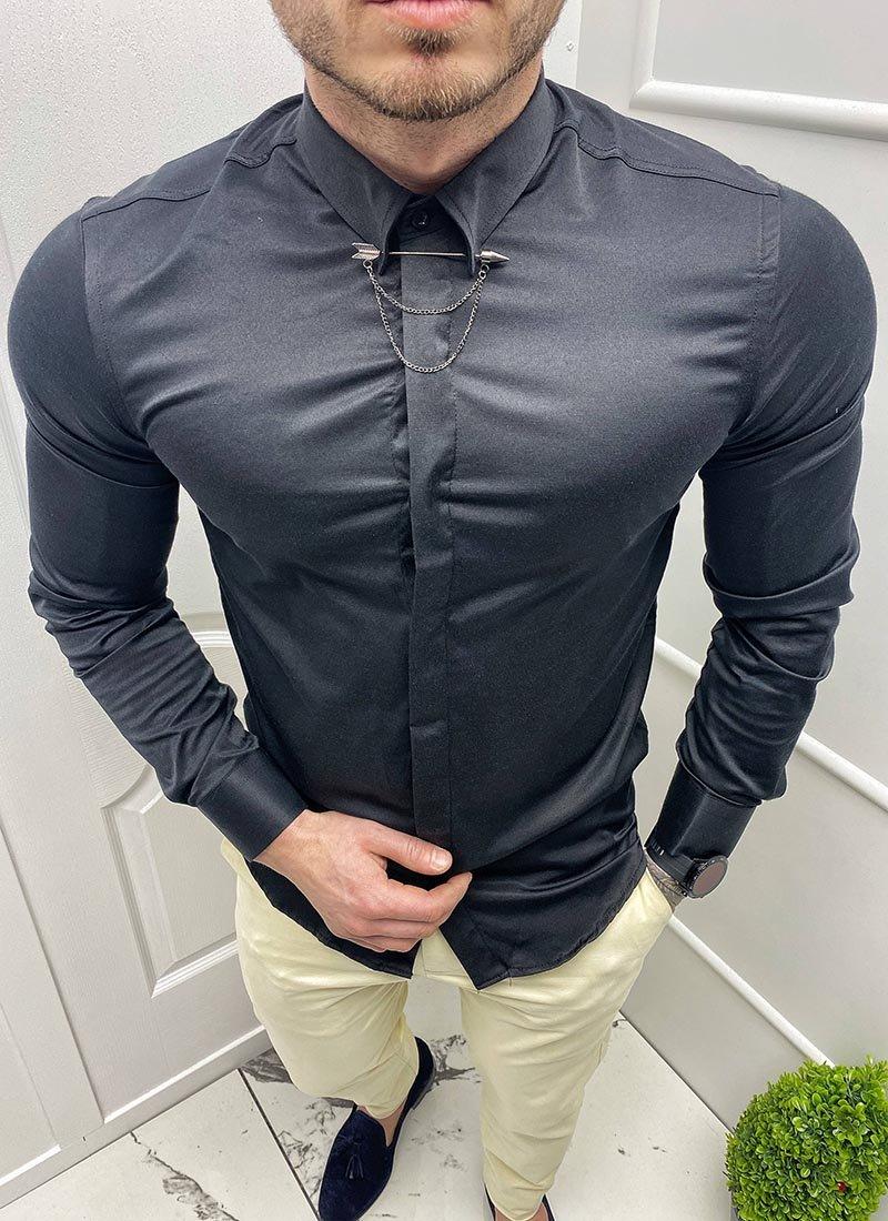 Мъжка спортно елегантна черна риза игла