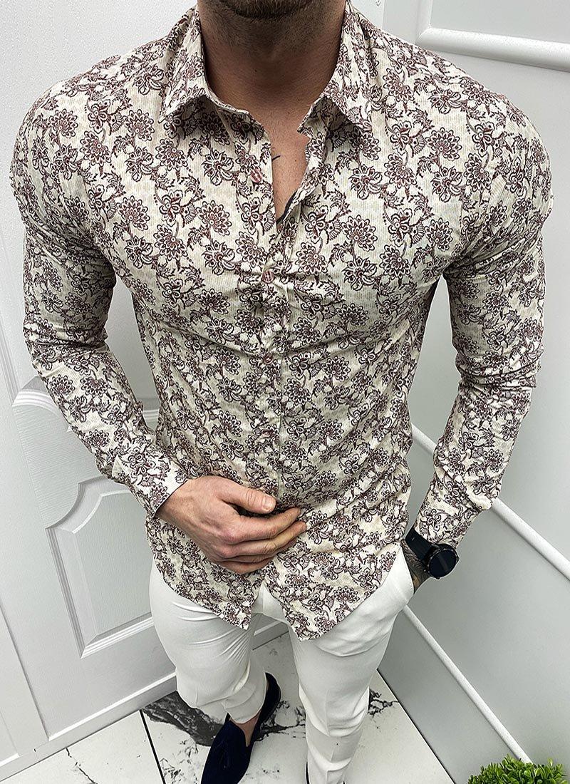 Мъжка риза в бежово и кафяво