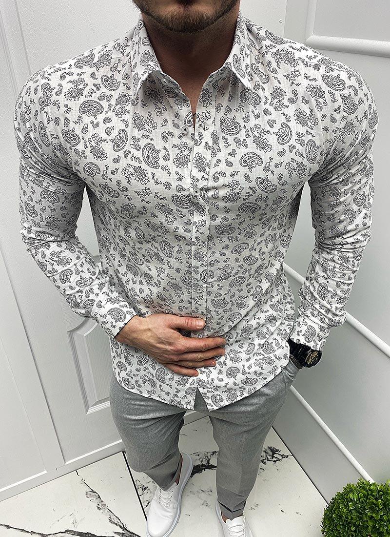 Мъжка бяла риза черни флорални елементи