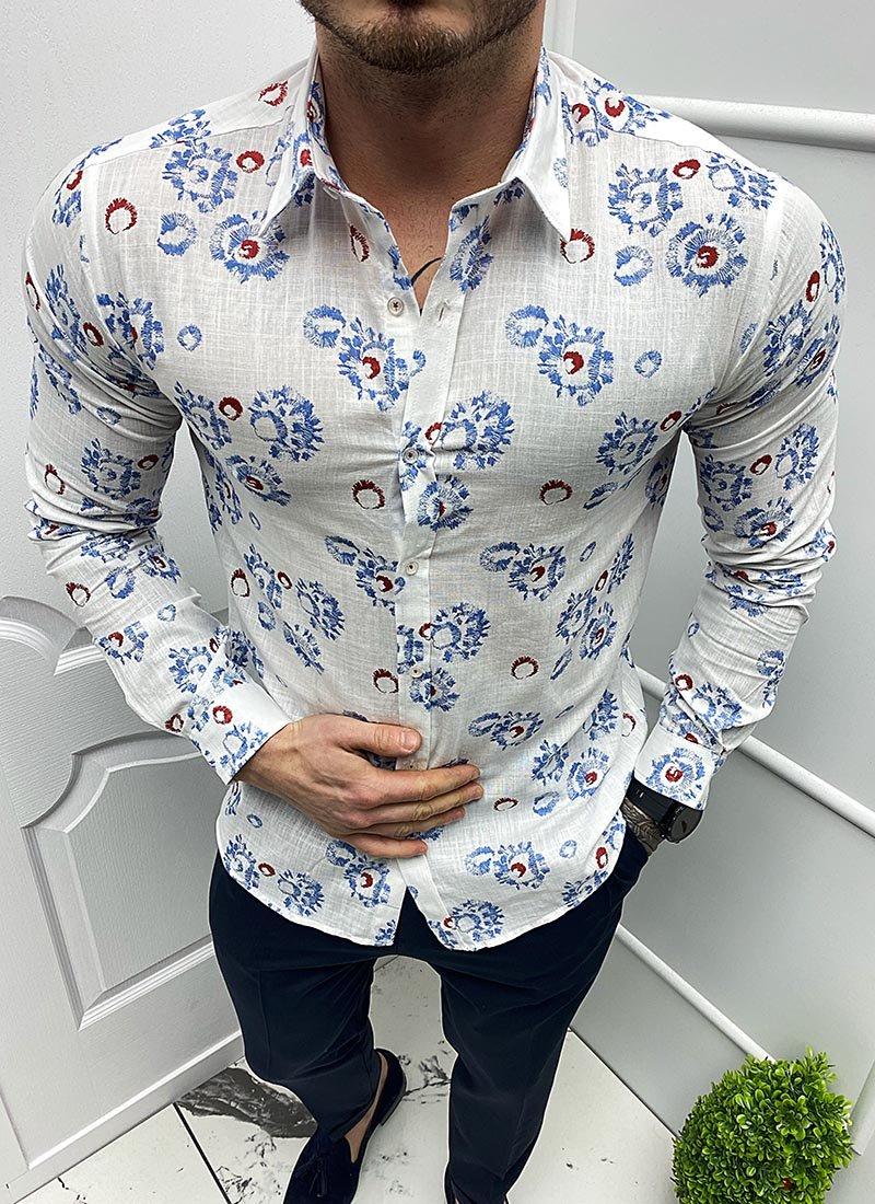 Мъжка бяла риза сини/червени елементи