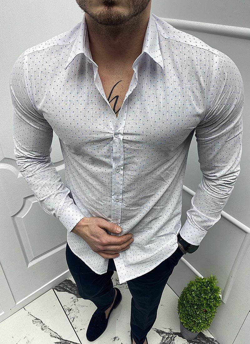 Мъжка бяла риза сини точки