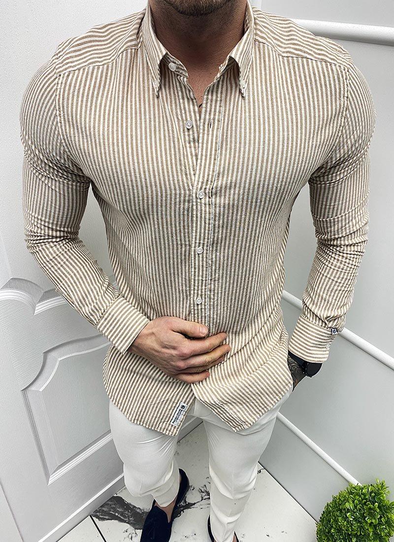 Мъжка раирана риза бяло и бежово