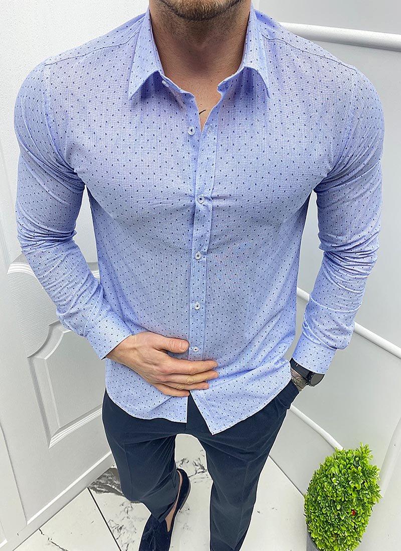 Мъжка синя риза на точки