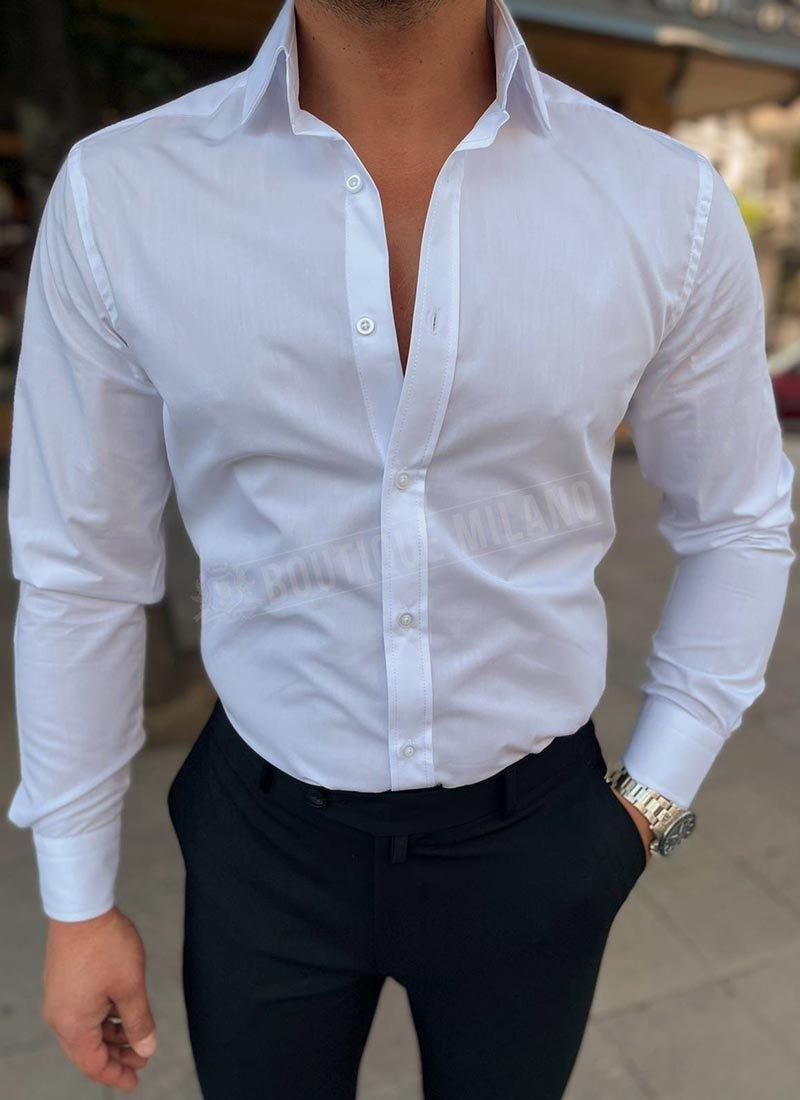 Мъжка официална бяла риза