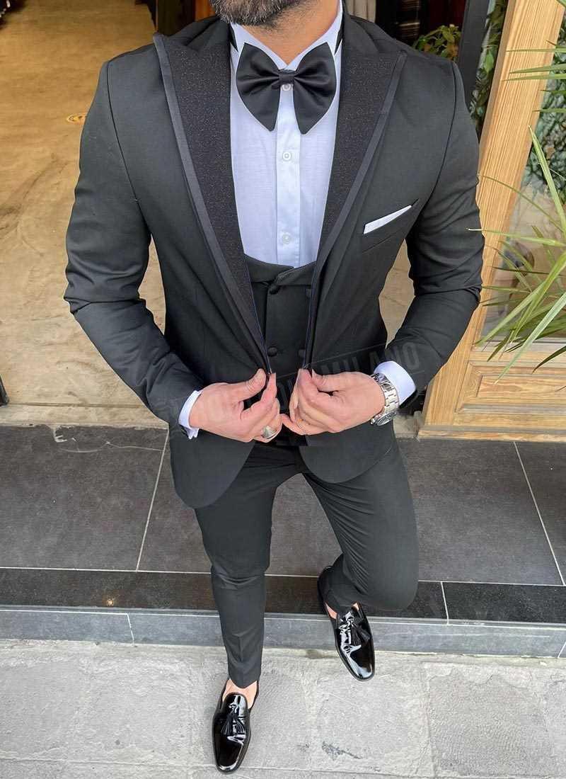 Мъжки черен смокинг с блестящ ревер 9781