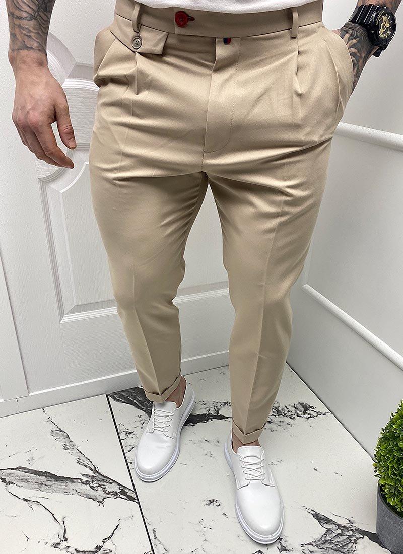 Мъжки елегантен бежов панталон