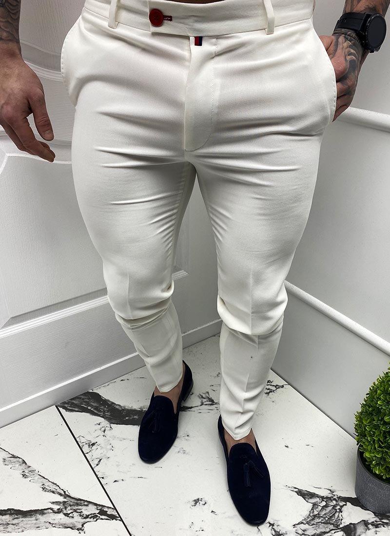 Мъжки елегантен бял панталон