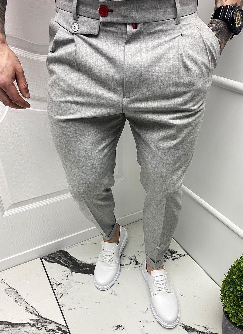 Мъжки елегантен светло сив панталон