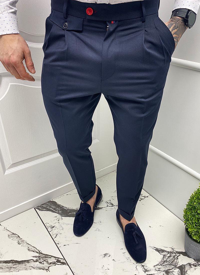 Мъжки елегантен тъмно син панталон