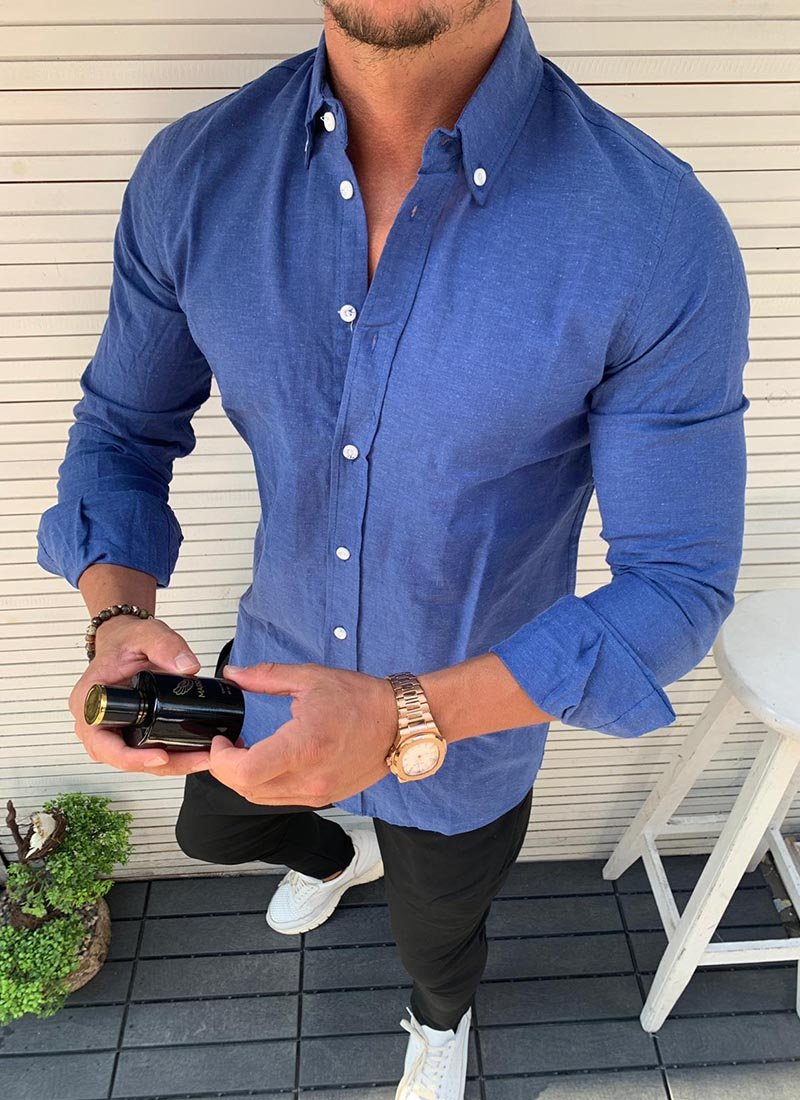 Спортно елегантна мъжка риза в синьо