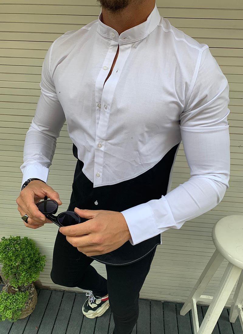 Мъжка риза в бял и черен цвят Р267
