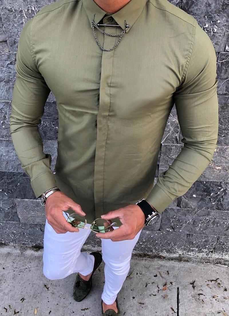 Мъжка риза зелен цвят с игла Р268
