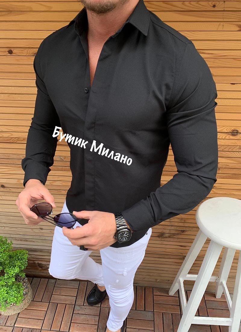 Мъжка риза в черен цвят Р269