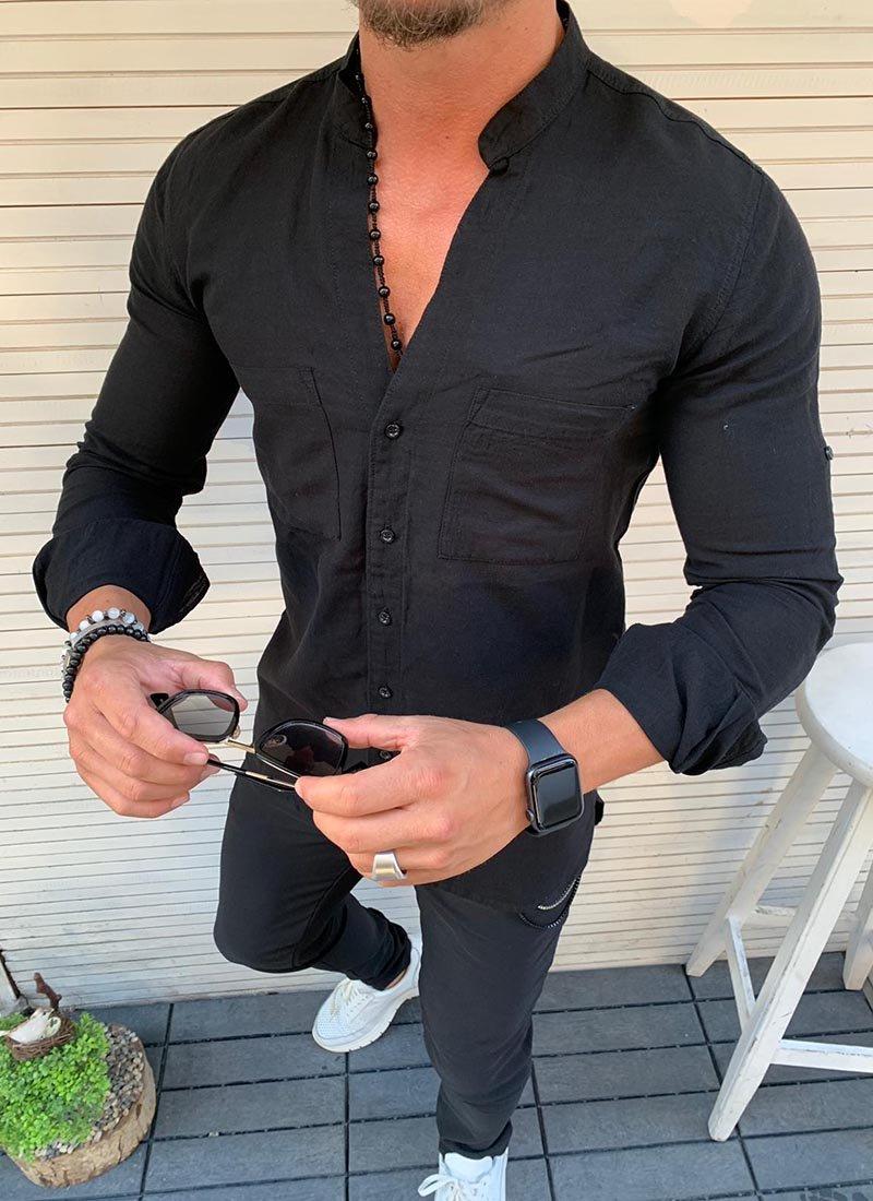 Мъжка риза в черно с джобчета Р272