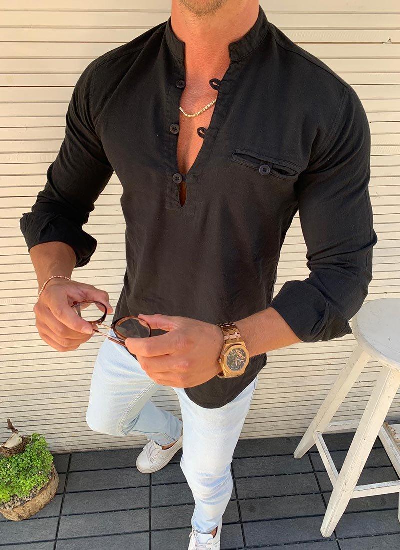 Мъжка спортно елегантна риза в черно Р273