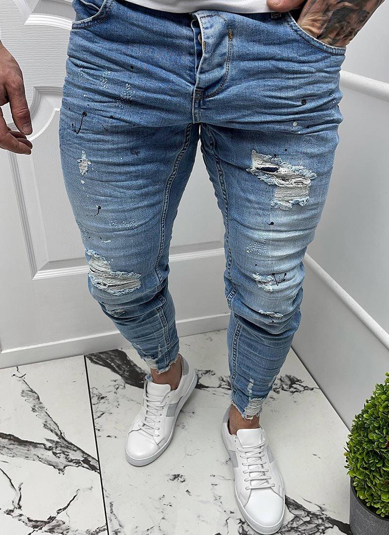 Мъжки сини дънки разнищени кръпки