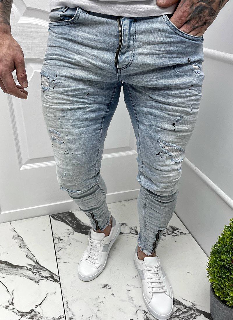 Мъжки светло сини дънки с ципове