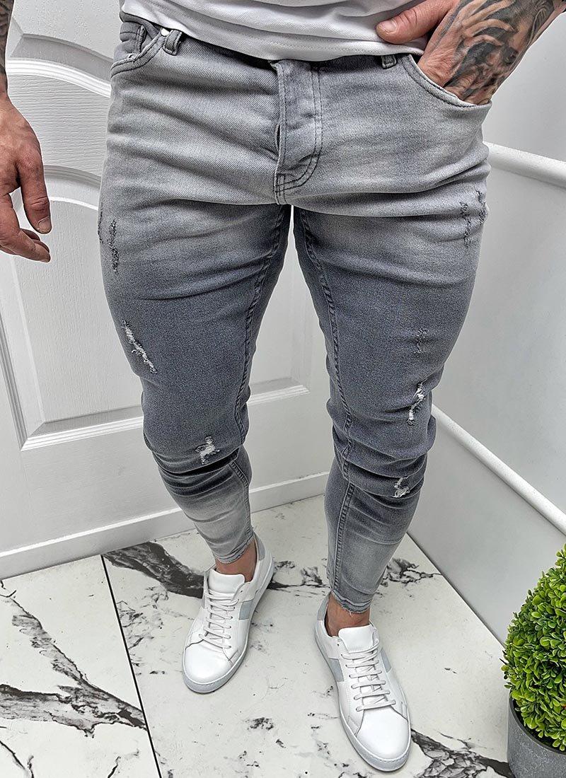 Мъжки сиви дънки преливащи