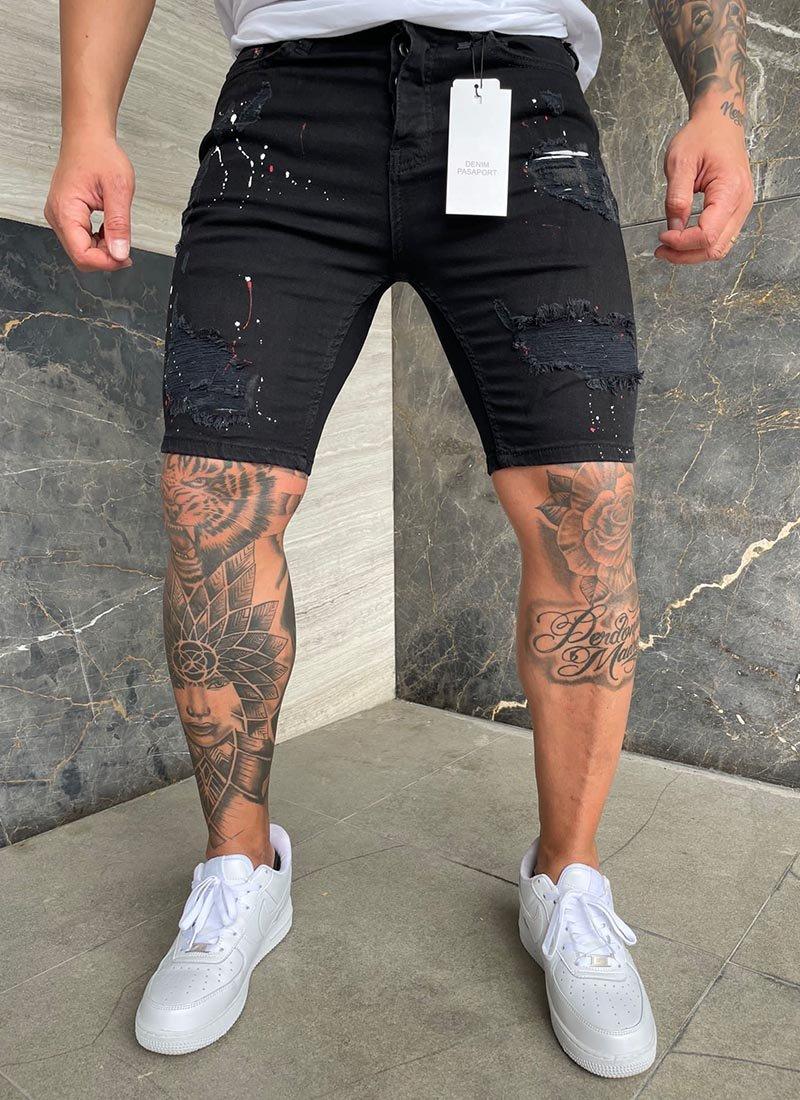 Мъжки къси дънки черни с пръски КД73