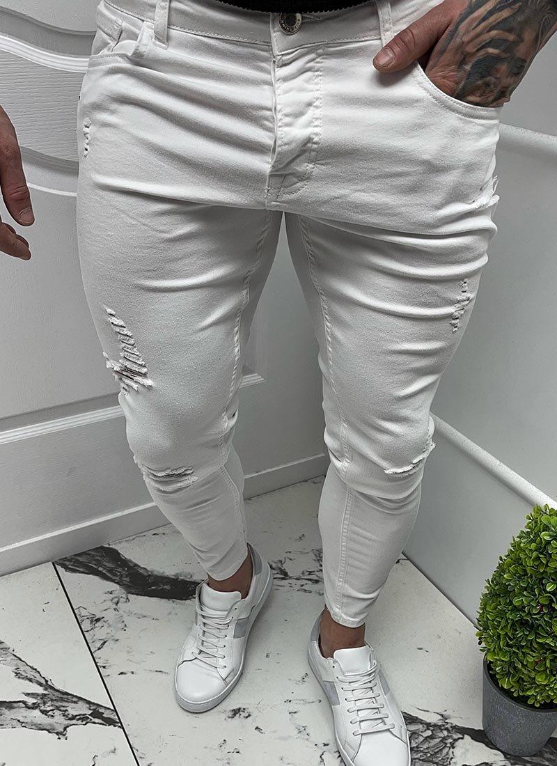 Мъжки дънки бял цвят леко разнищени А6118