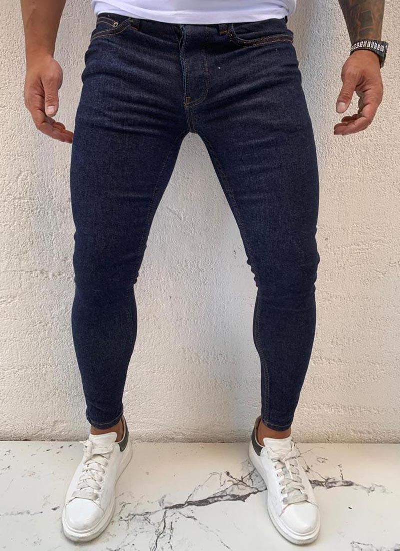 Мъжки дънки изчистени тъмно сини А14192