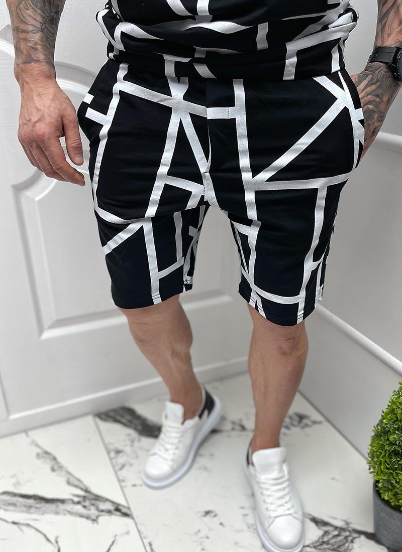 Мъжки къси панталони черно и бяло