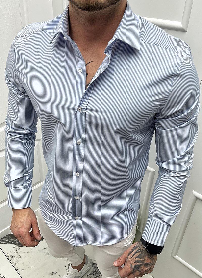 Мъжка раирана риза в бяло и синьо