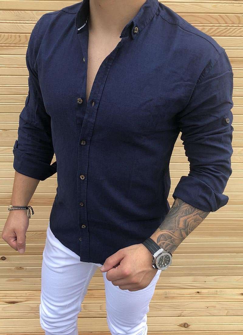 Спортно елегантна мъжка тъмно синя риза