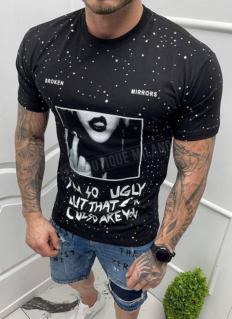 Мъжка черна тениска надписи и щампа
