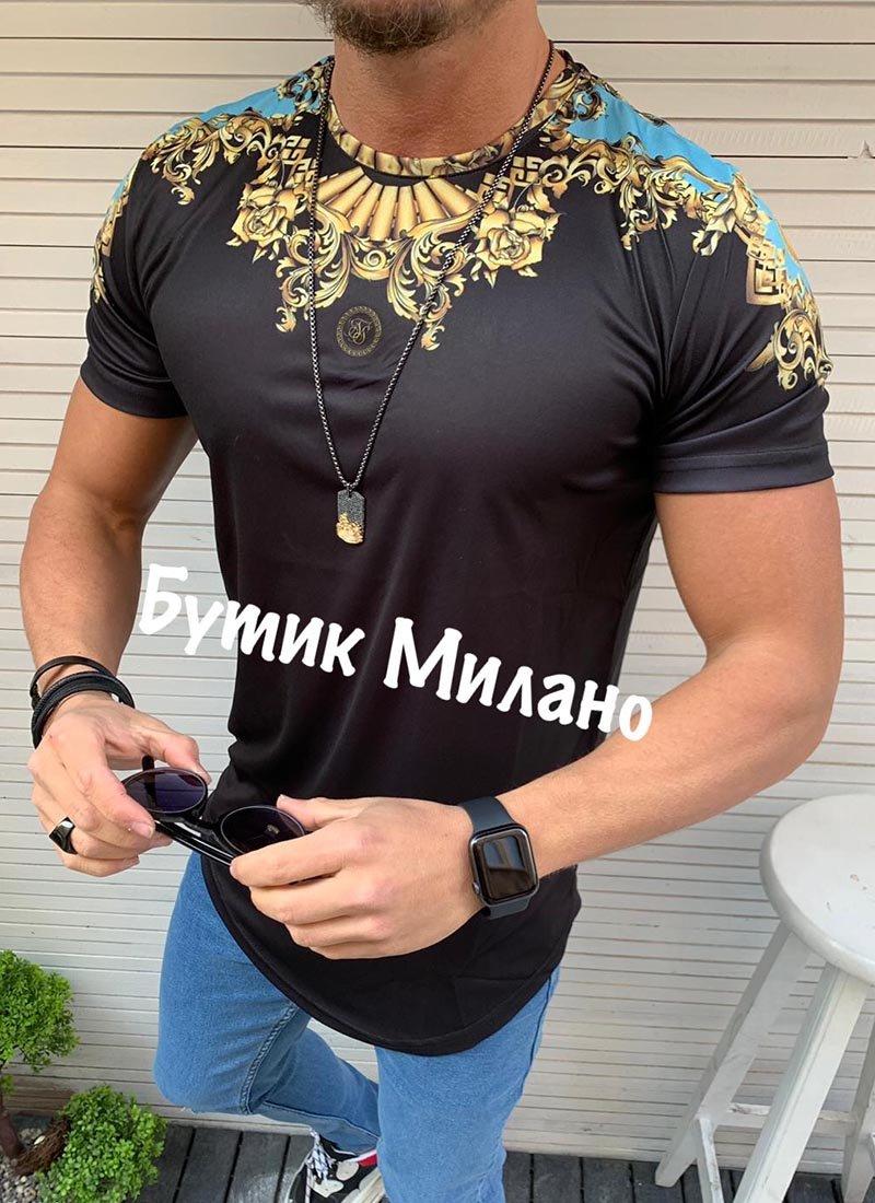 Мъжка черна тениска с орнаменти
