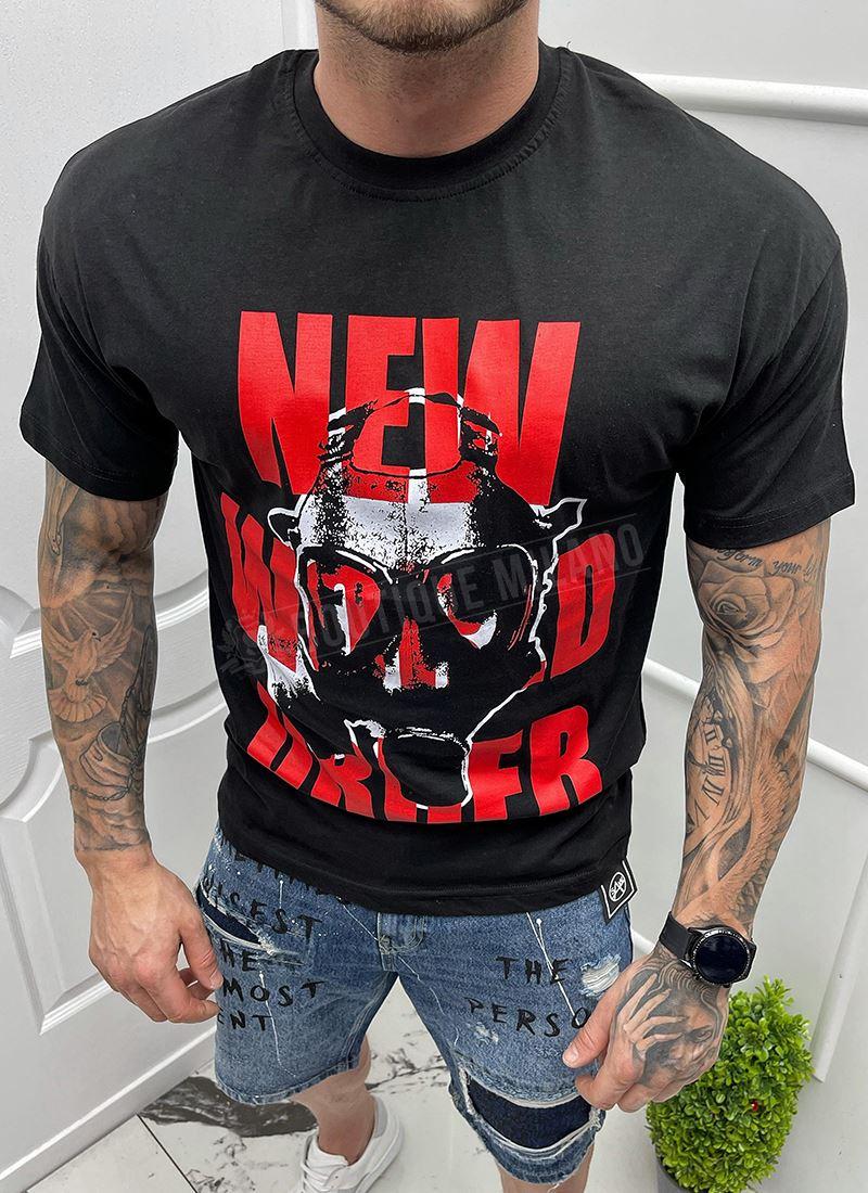 Мъжка черна тениска с щампа маска