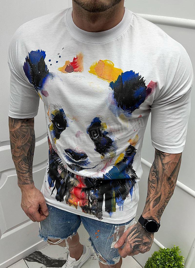 Мъжка бяла тениска с щампа панда