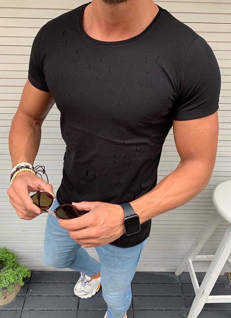 Мъжка черна тениска на дупки