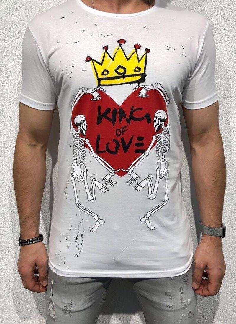 Мъжка бяла тениска цветни щампи