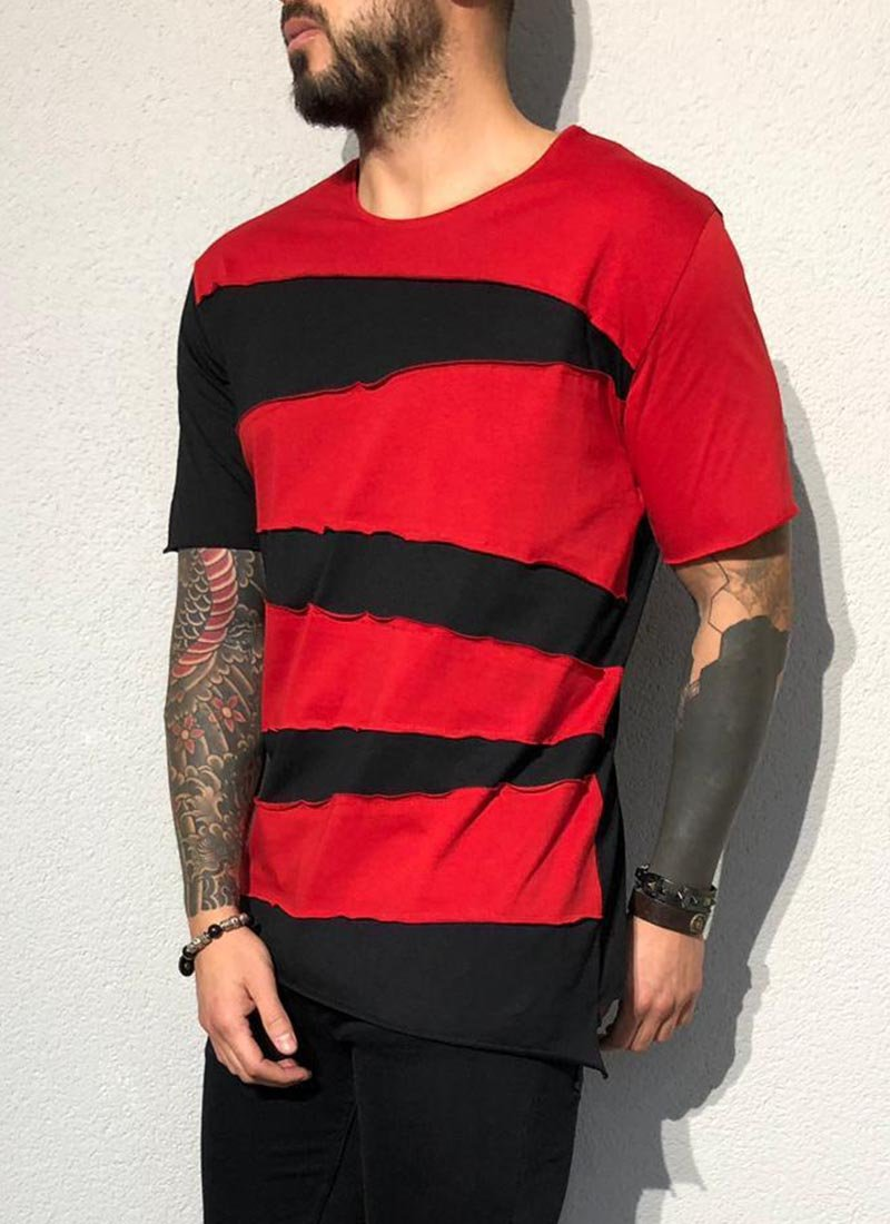 Мъжка тениска червено и черно